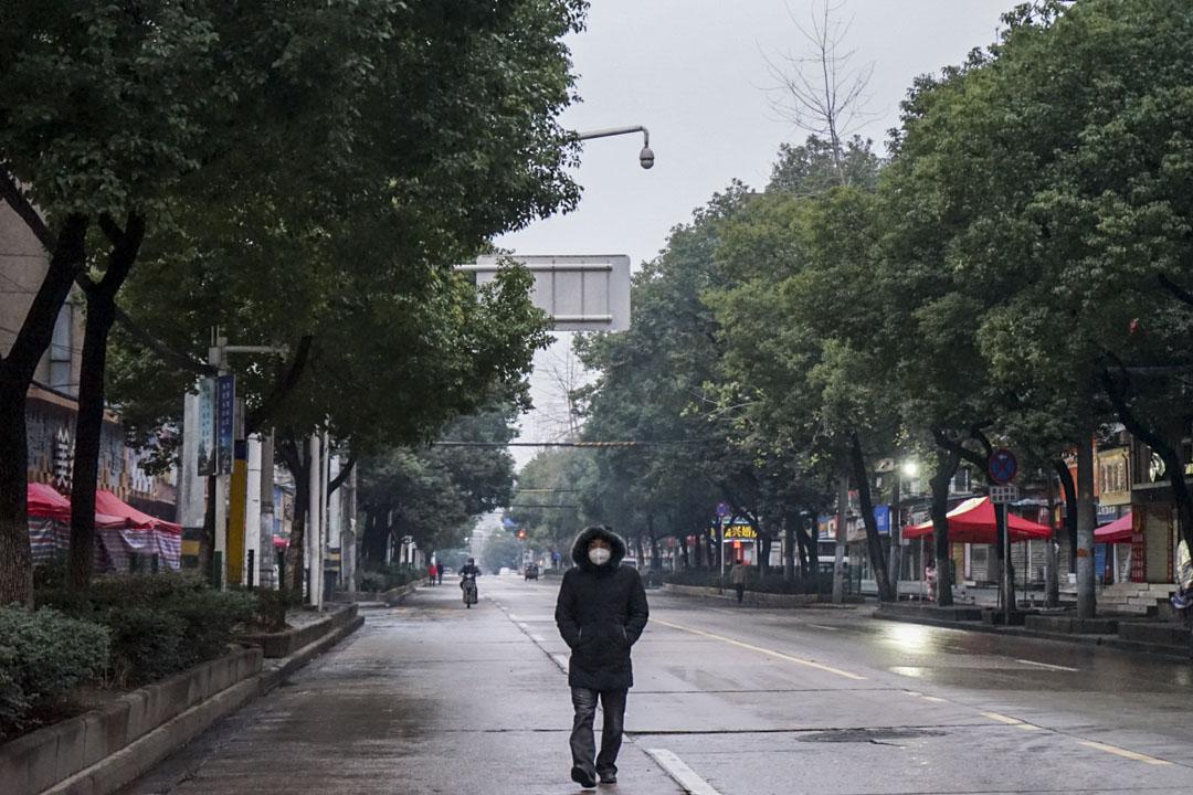 2020年1月26日,武漢市中心城區「禁行」首日,街上行人稀少。