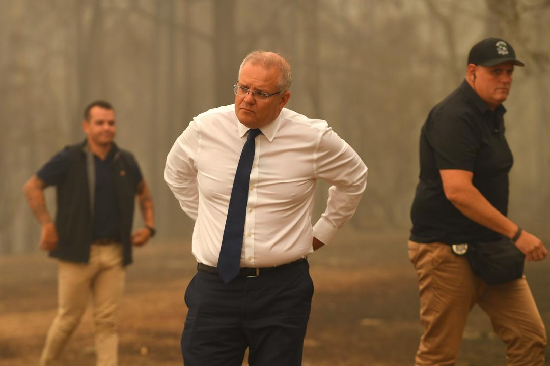 2020年1月3日,澳洲總理摩利臣到訪受火災影響的地區。