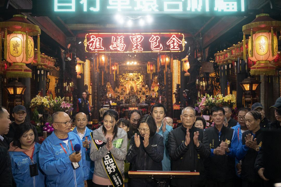 2019年12月30日,蔡英文在金山區的媽袓廟參拜。
