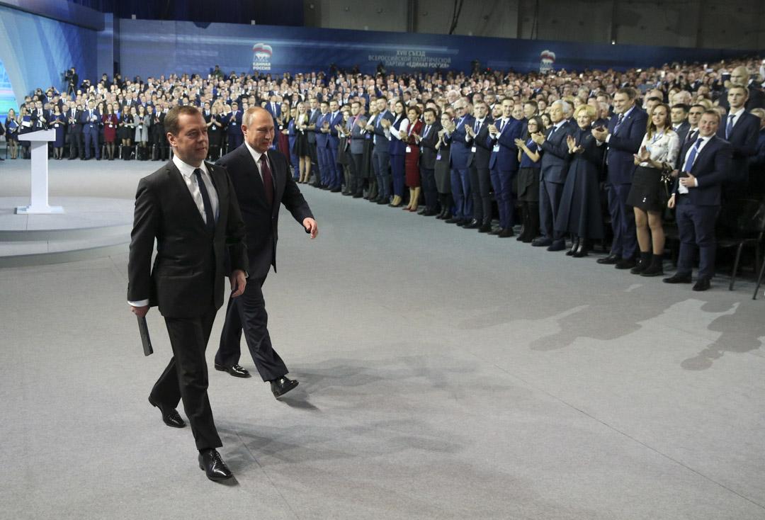 2017年12月23日,俄羅斯總統普京和總理梅德韋傑夫。