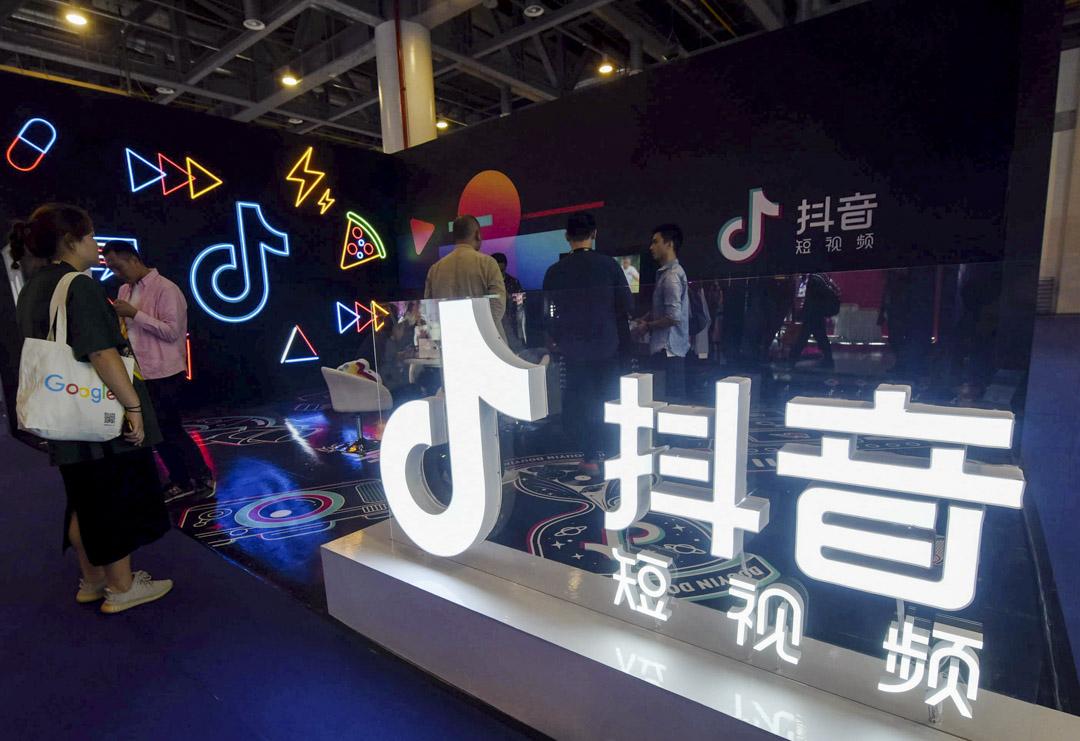 2019年10月18日,TikTok的攤位在中國杭州舉行的首屆國際人工製品博覽會上。