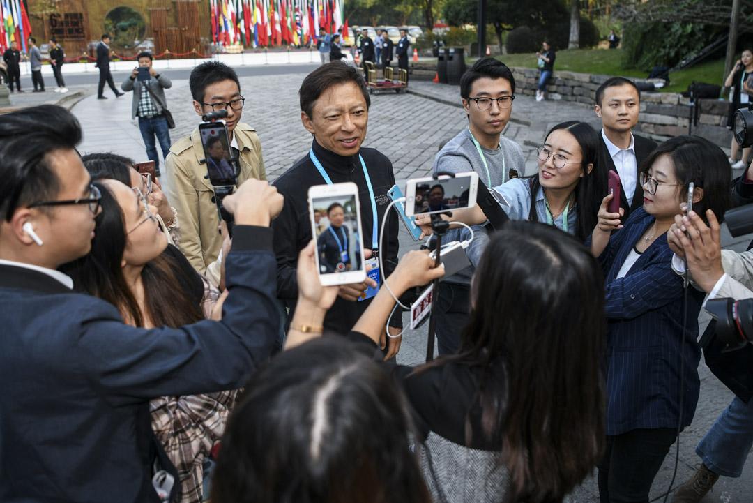 2020年1月13日,搜狐CEO張朝陽在直播中稱「資本家就得剝削員工」。圖為張朝陽於2019年10月接受記者提問。 攝:VCG/VCG via Getty Images