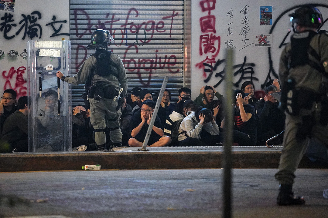 2020年1月1日,元旦大遊行後,示威者在銅鑼灣被捕。