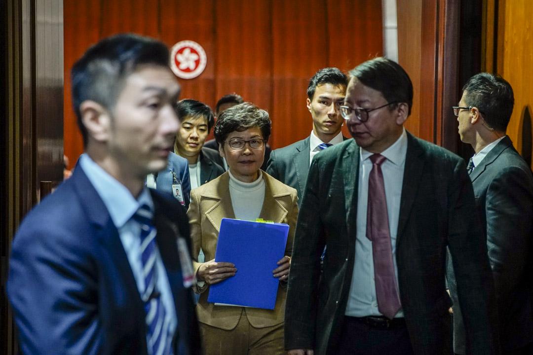 2020年1月16日,特首林鄭月娥在立法會出席答問大會。 攝:林振東/端傳媒