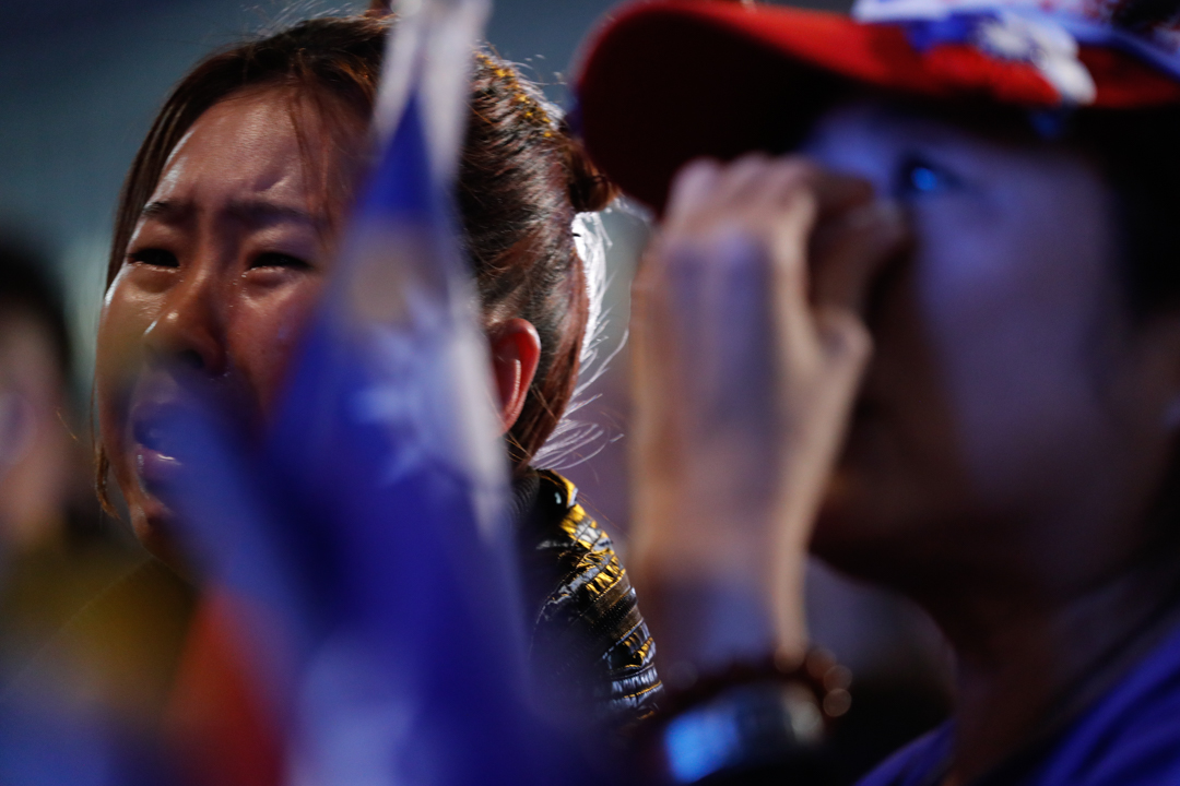 2020年1月11日,台灣大選結果出爐後,韓國瑜的支持者落淚。
