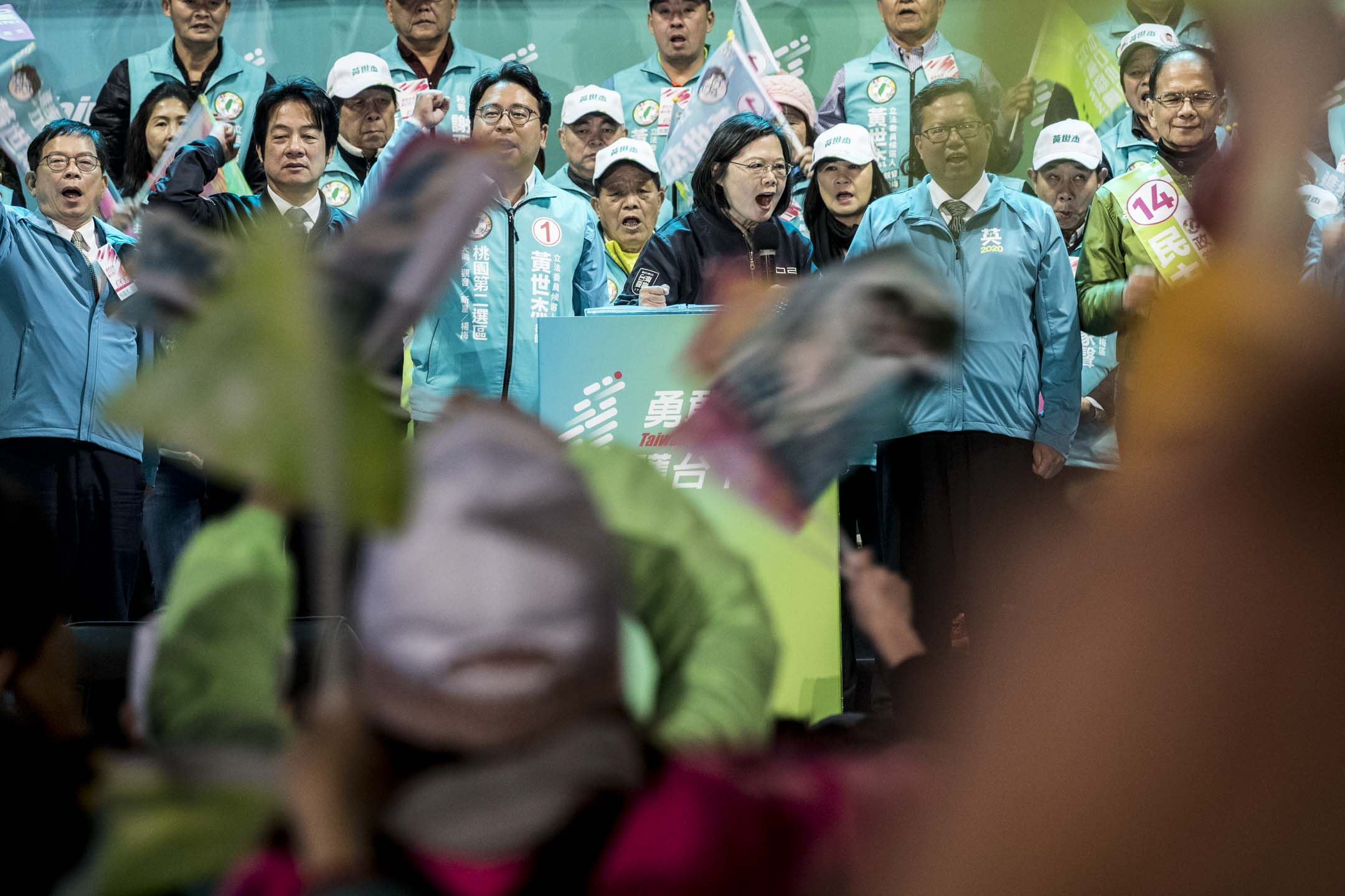 2020年1月8日,民進黨總統候選人蔡英文在桃園造勢晚會。 攝:林振東/端傳媒