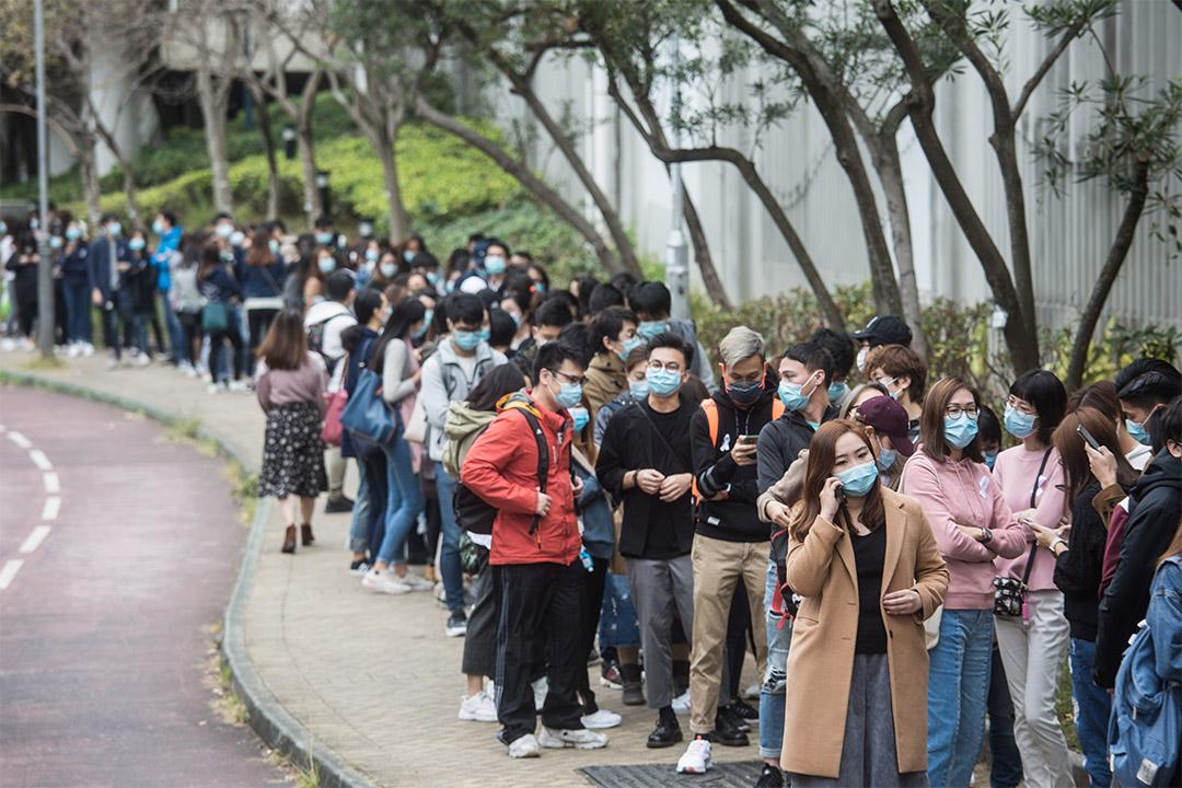 2020年2月3日,屯門醫院醫護罷工的街站。