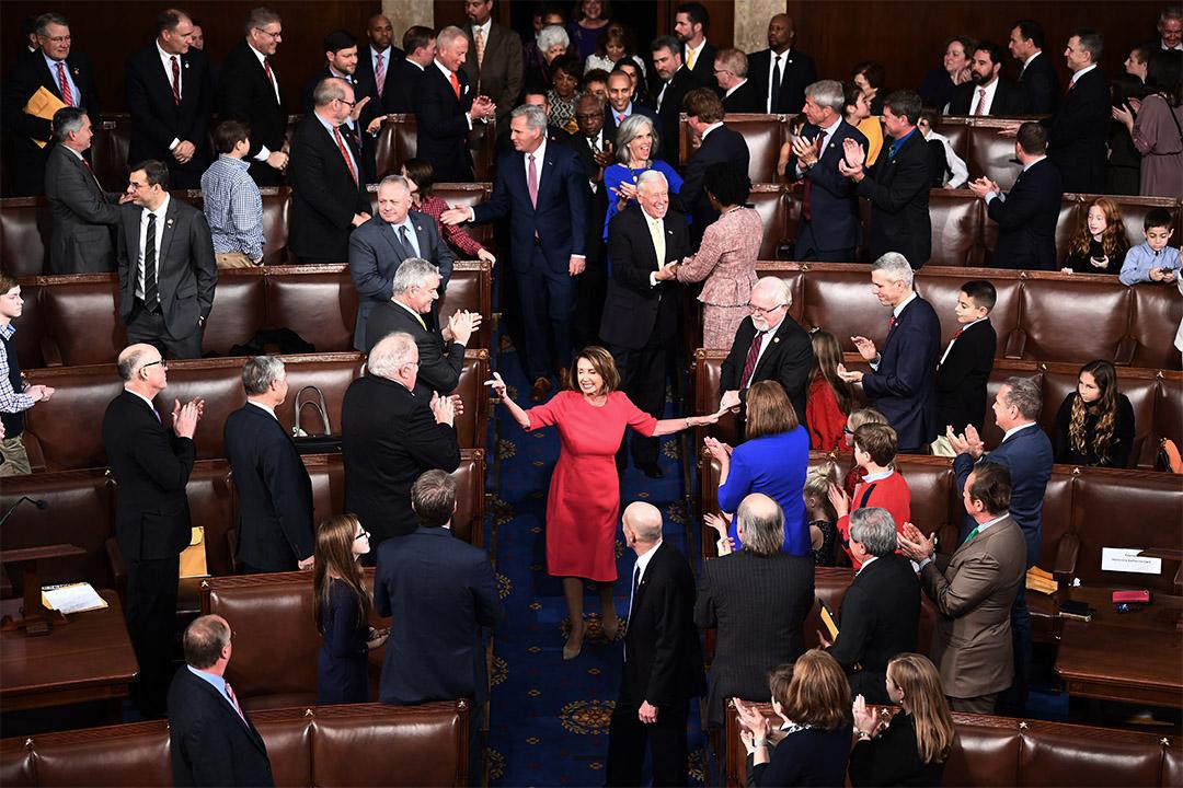 2019年1月3日華盛頓美國國會大廈,眾議院議長佩洛西在國會開幕會議上。