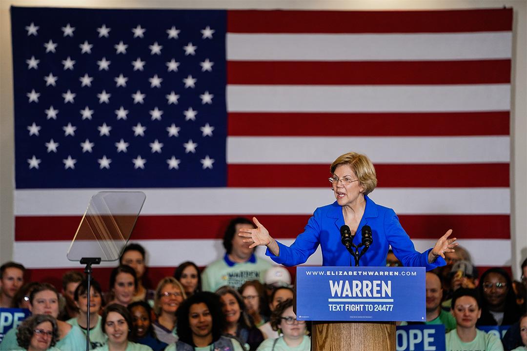 2020年2月3日美國愛荷華州,沃倫(Elizabeth Warren)於民主黨晚會上發表講話。