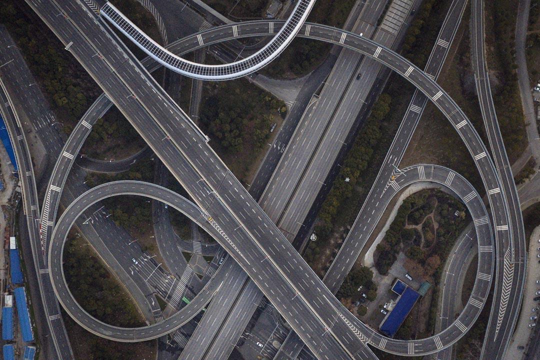 2020年2月3日,湖北武漢的鳥瞰圖。