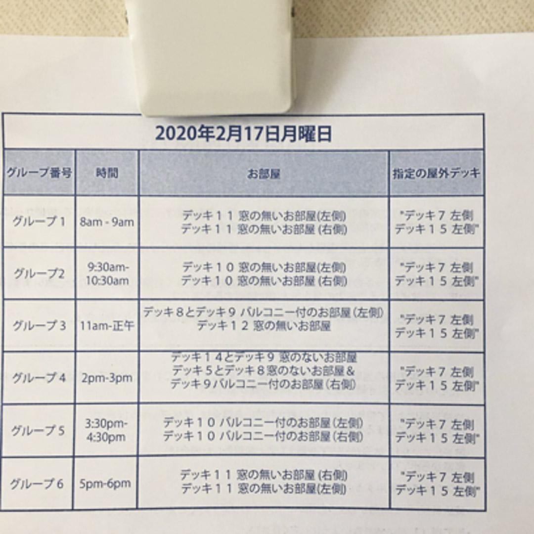 伊藤先生提供的,2月17日的活動日程表,上面顯示郵輪上1337個房間裏的乘客如何分批、分時段上甲板散步透氣。