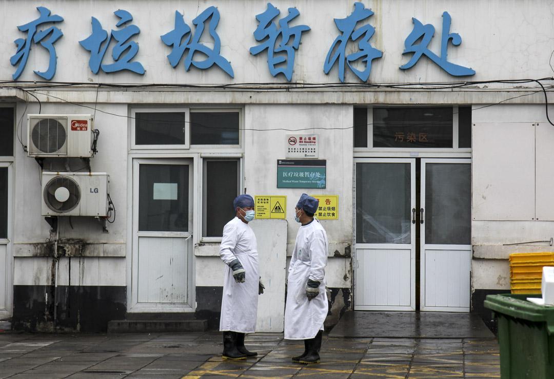2020年2月14日,北京朝陽區一間醫院的醫療廢物分類站。