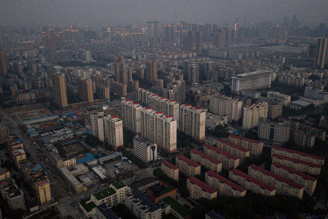 2020年2月3日,武漢市的鳥瞰圖。