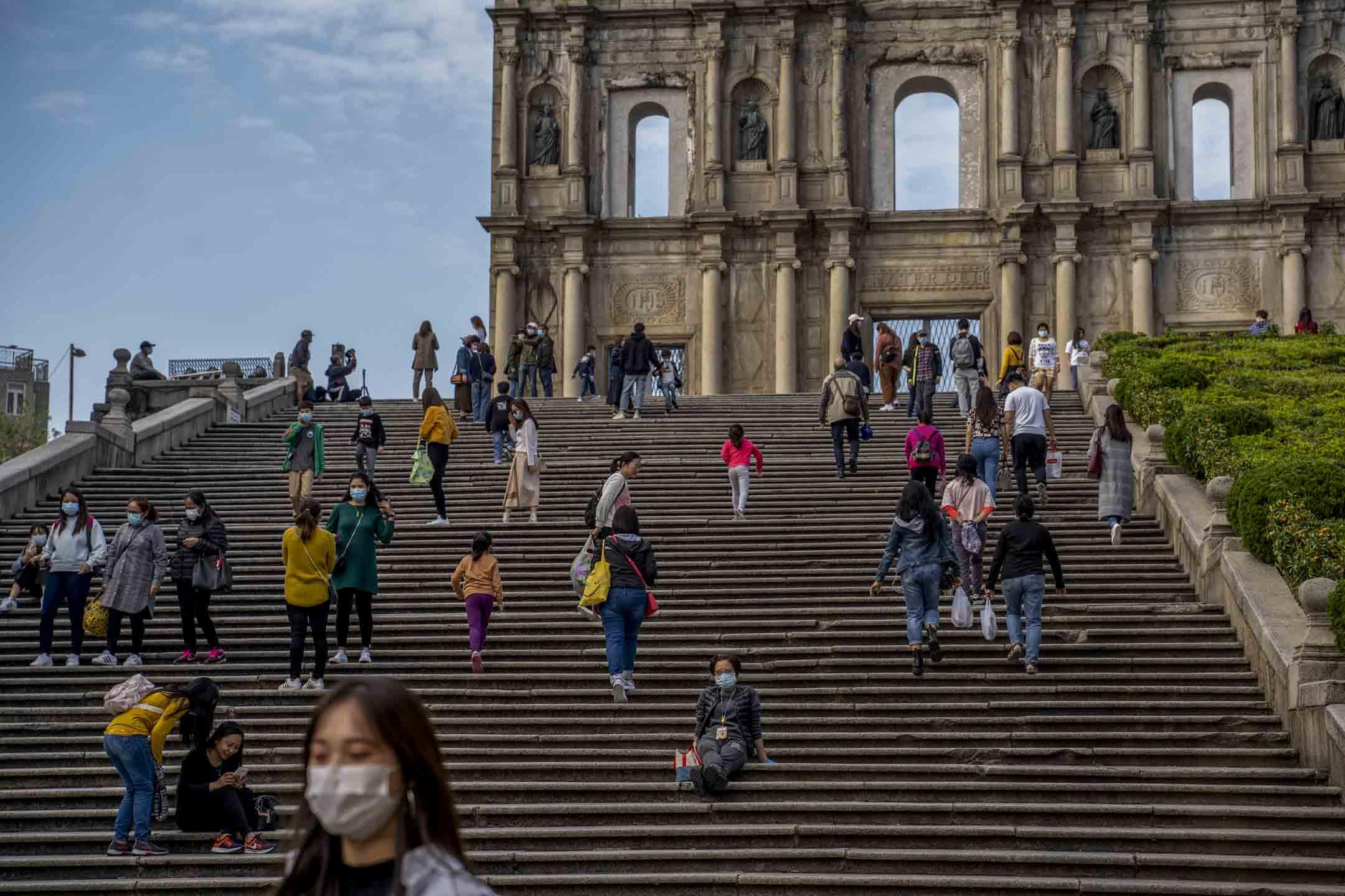 2020年2月23日,遊覽澳門大三巴的大部份都是澳門本地居民。
