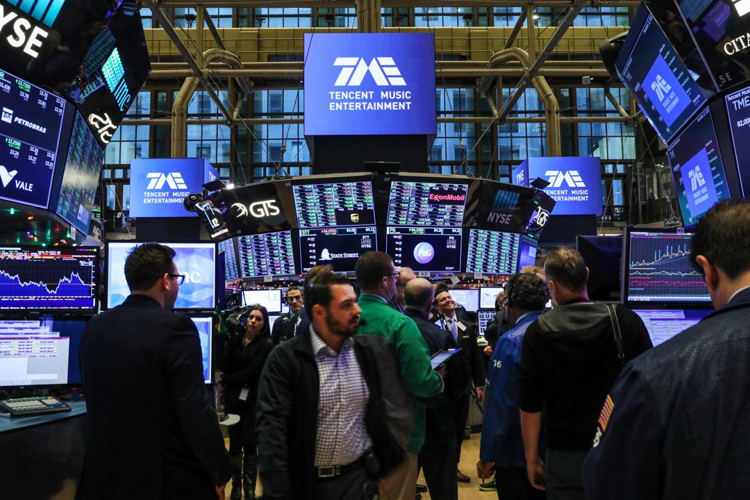 2018年12月12日,騰訊音樂在美國紐約證券交易所首次公開募股。 攝:Spencer Platt/Getty Images