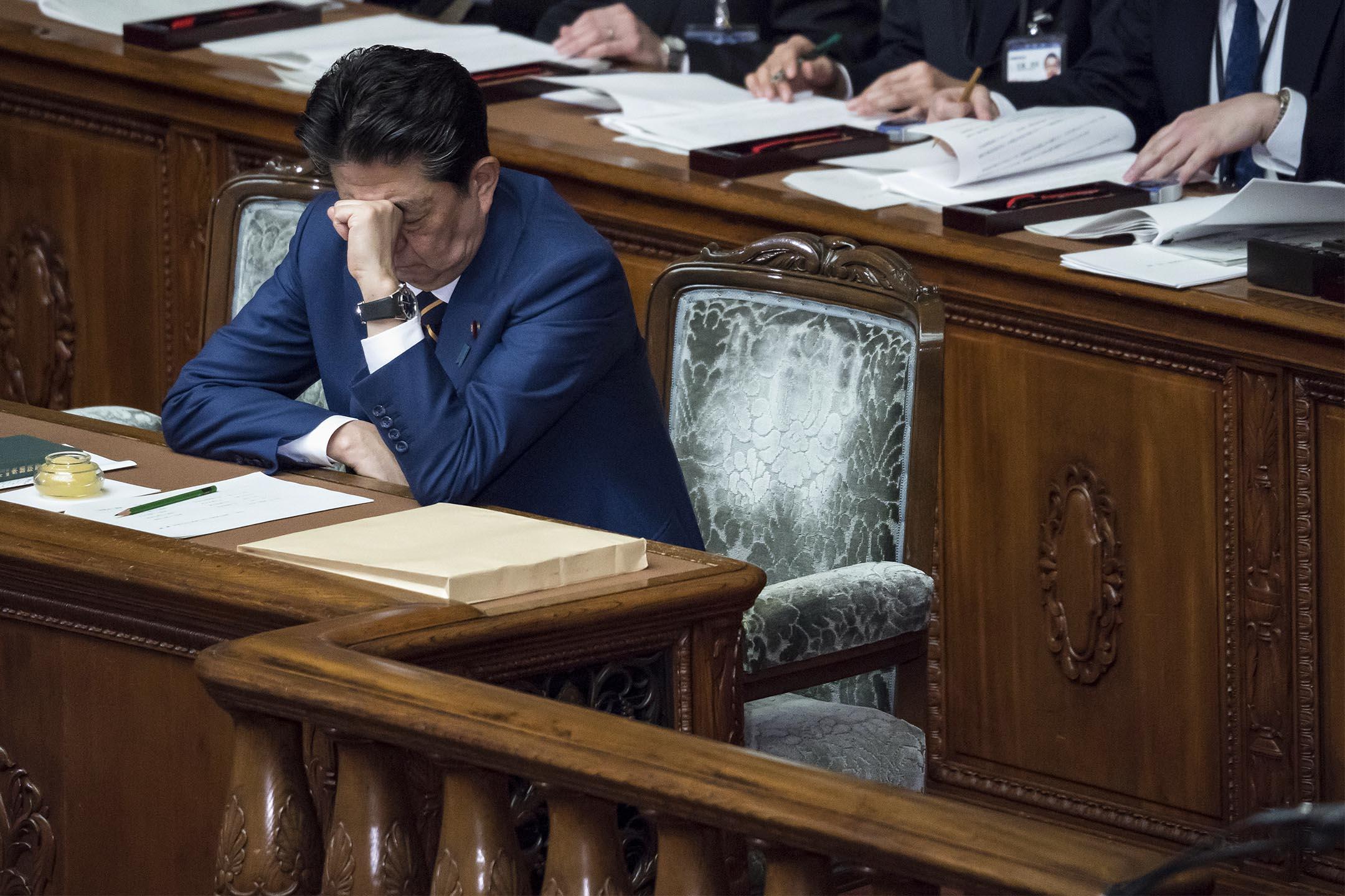 2020年1月20日,日本首相安倍晉三在日本東京下議院出席會議。  攝:Tomohiro Ohsumi/Getty Images
