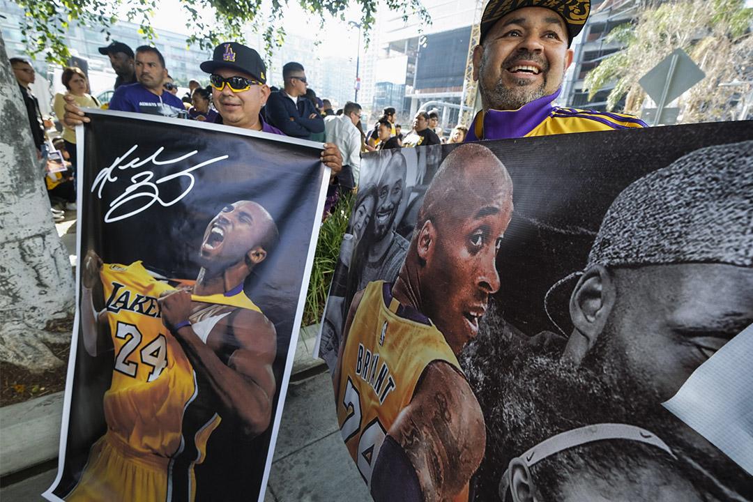 當地時間2020年2月24日,美國洛杉磯,NBA巨星高比布萊恩特與女兒吉安娜追思會於洛杉磯湖人主場舉行。