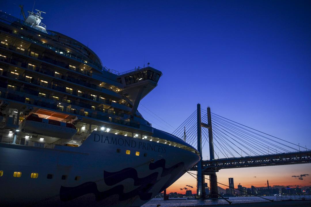 2020年2月10日,停泊在橫濱港口上的鑽石公主號。