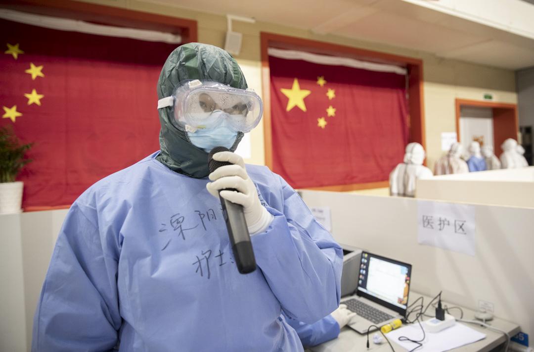 2020年2月14日,武漢市武漢方倉醫院的一名醫生。