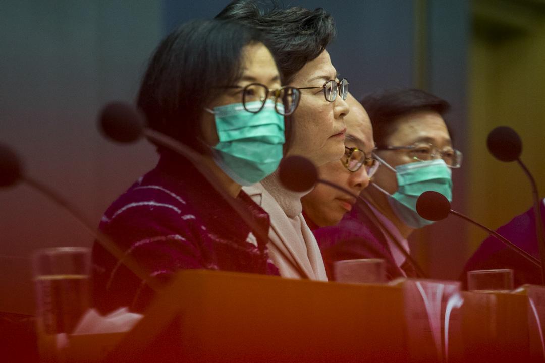 2020年2月3日,特首林鄭月娥主持的政府記者會。 攝:林振東/端傳媒