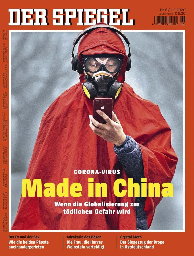 《明鏡週刊》雜誌封面標題指新型冠狀病毒由中國製造。