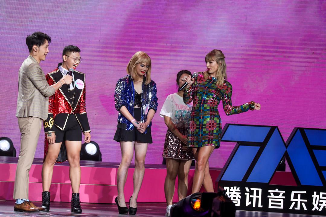 2019年11月19日,歌手Taylor Swift於廣州出席由騰訊音樂主辦的中國粉絲見面會。