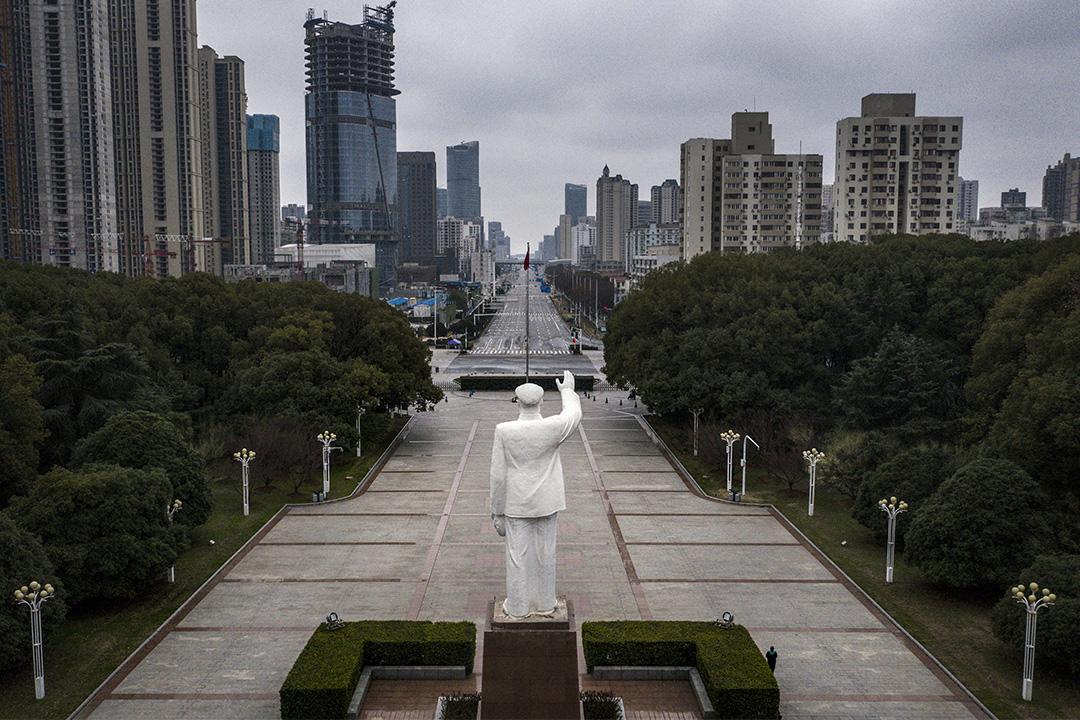 2020年2月7日,中國湖北省武漢市空蕩蕩的街道。