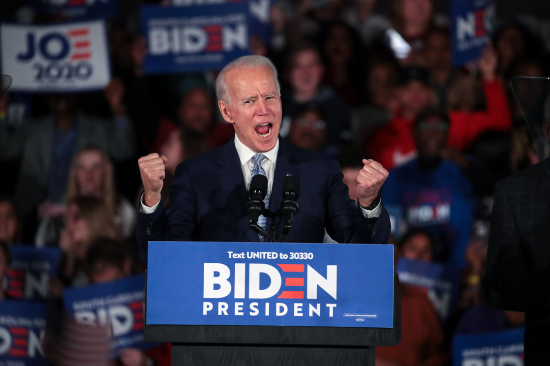 民主黨初選總統候選人拜登。