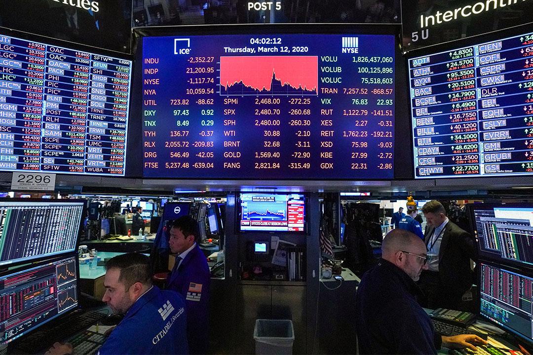 2020年3月12日在紐約證交所,螢幕上顯示道瓊斯工業平均指數。