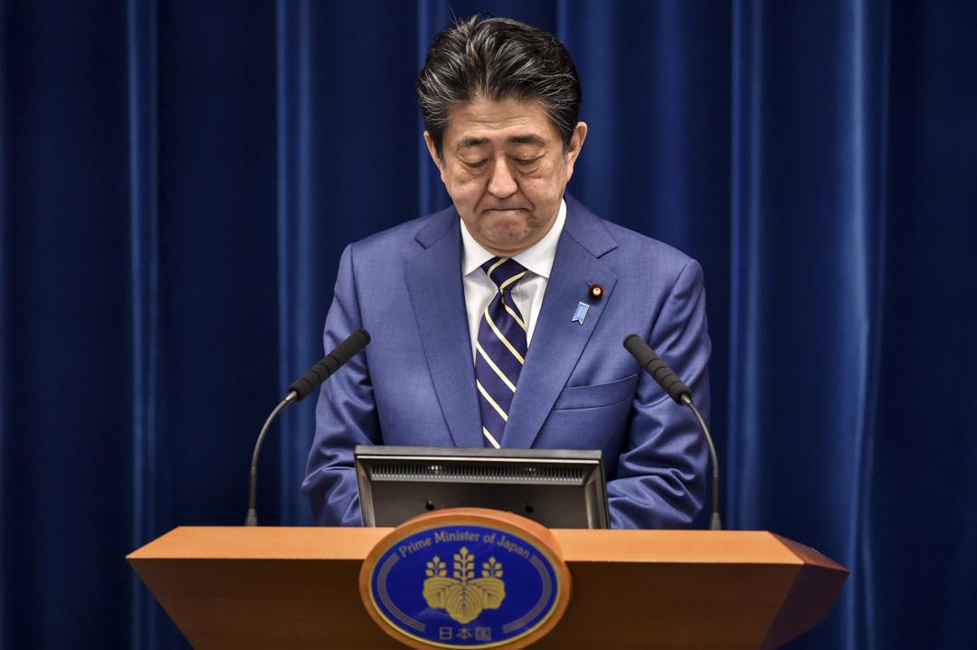 2020年3月28日,日本首相安倍晉三在東京首相官邸召開記者會。