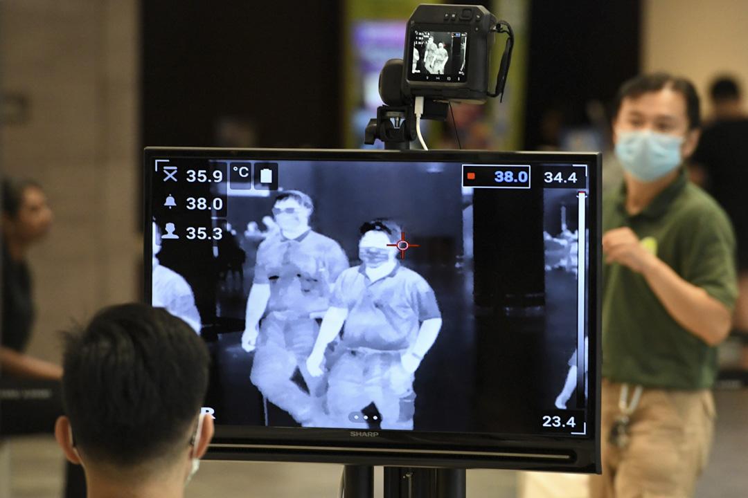 2020年2月27日,新加坡樟宜國際機場,因預防新冠病毒而設置體溫檢測。