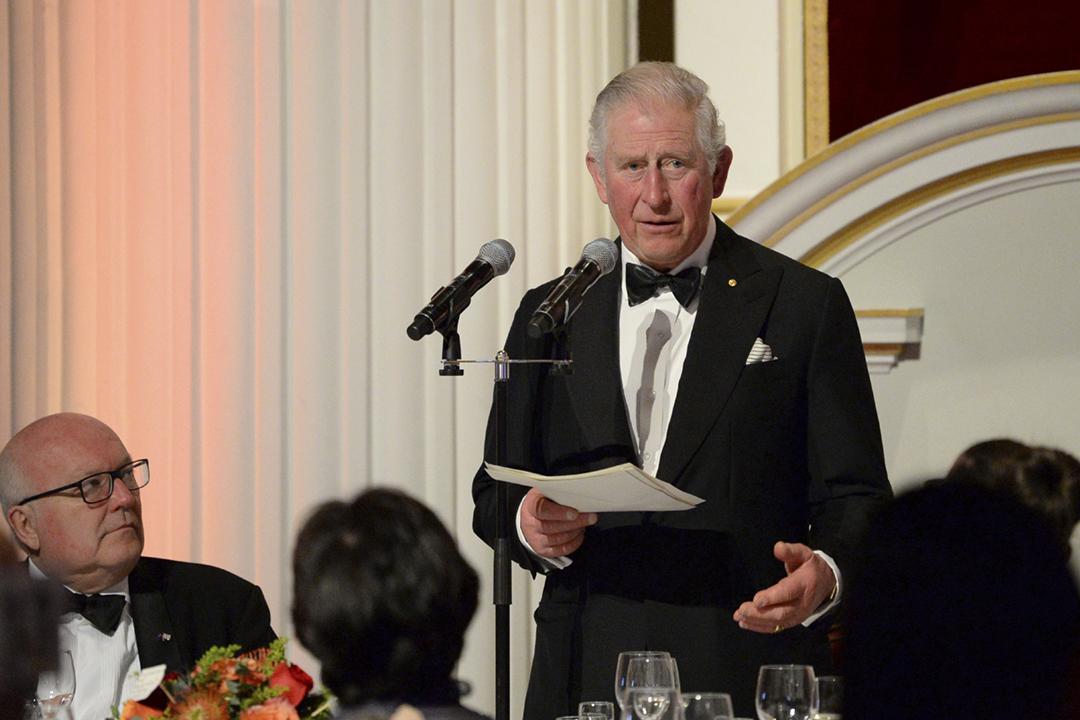 2020年3月12日,英國王儲查理斯(Charles)在一場宴會上發表講話。 攝:Eamonn M. McCormack - WPA Pool / Getty Images