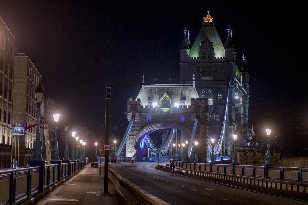 2020年3月24日,英國倫敦塔橋。