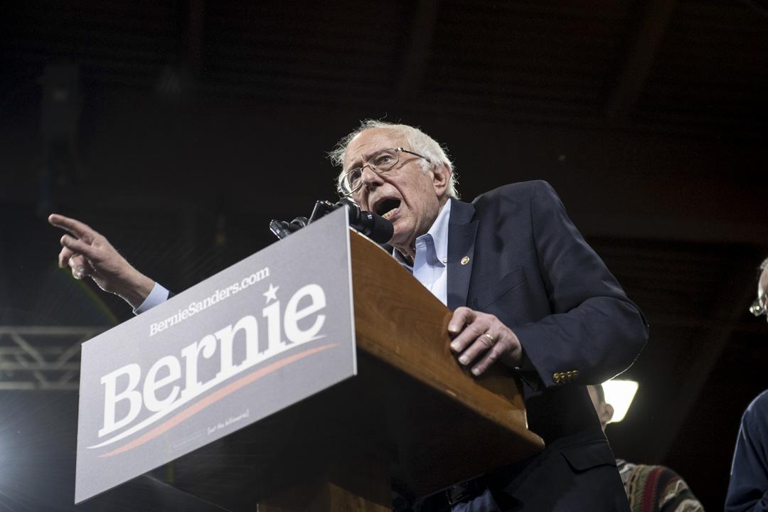 2020年3月3日星期二,民主黨總統參選人桑德斯在美國佛州一次集會上發表講話。