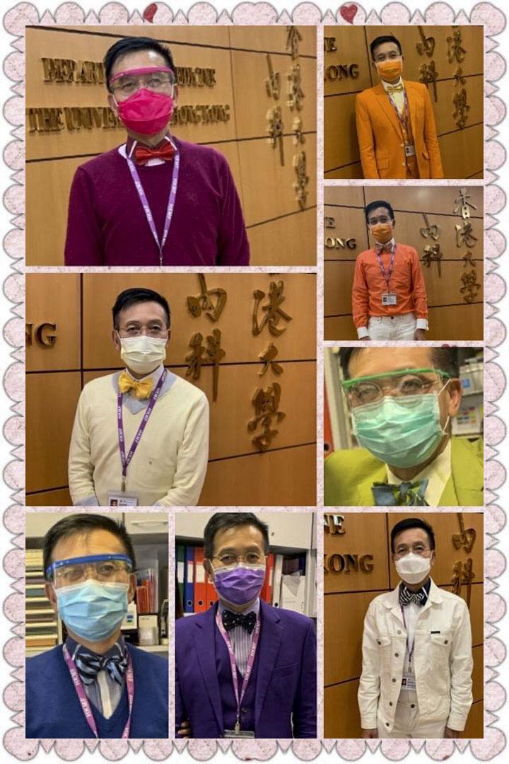 黎青龍和他的紅、橙、黃、綠、藍、紫、白七色搶眼西裝配同色口罩,他說照片是護士同事為他拍攝,再將照片合成送給他的。