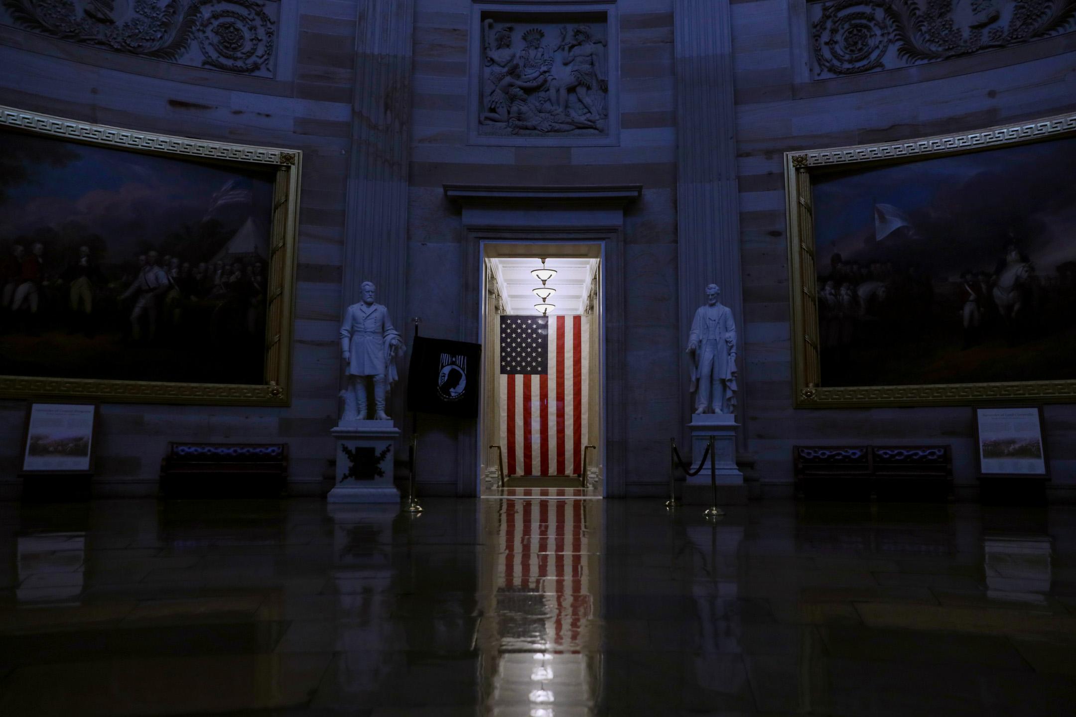 2020年3月12日,因應冠狀病毒疫情,美國華盛頓的國會大廈停止所有導賞活動。 攝:Alex Wong/Getty Images
