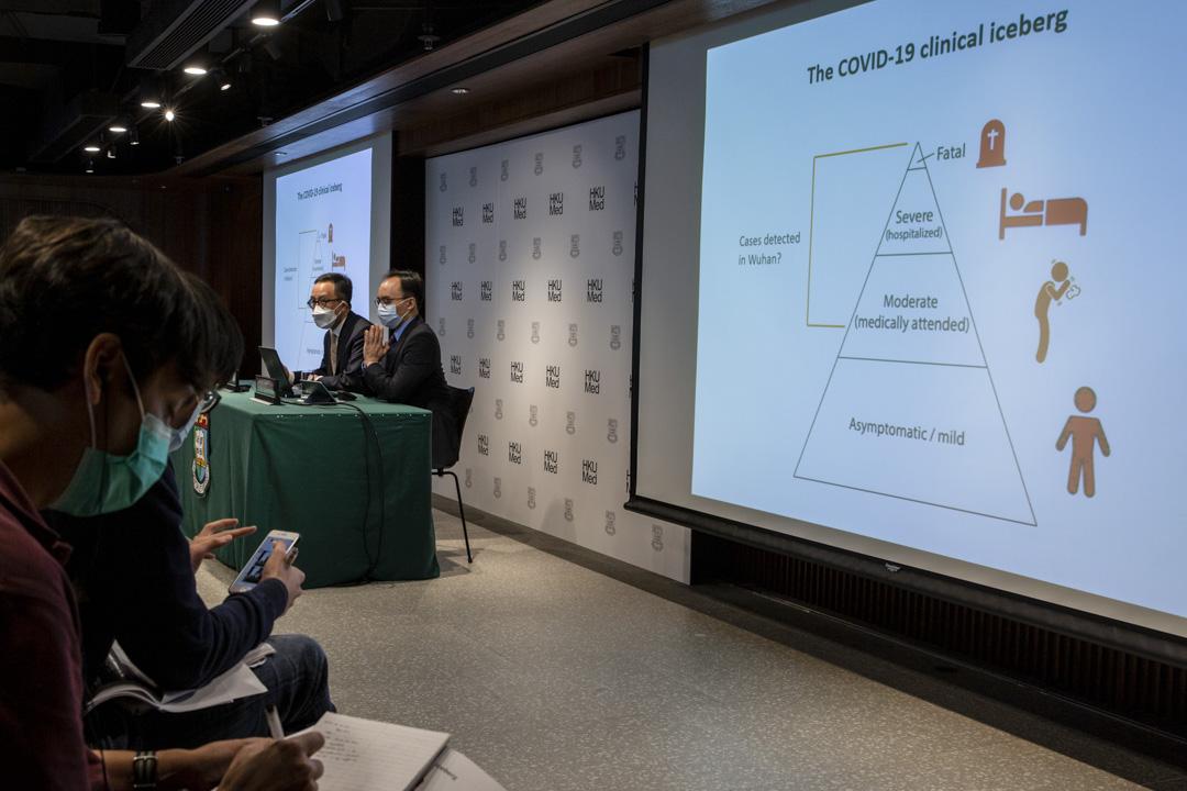 2020年3月6日,港大醫學院世衞傳染病流行病學及控制合作中心舉行記者會,由梁卓偉教授與胡子祺教授主持。