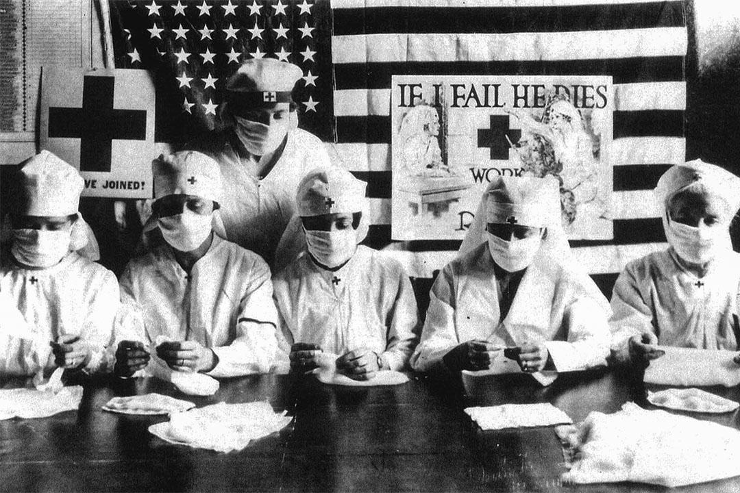 1918年1月27日,紅十字會志願者在美國對抗西班牙流感疫情。