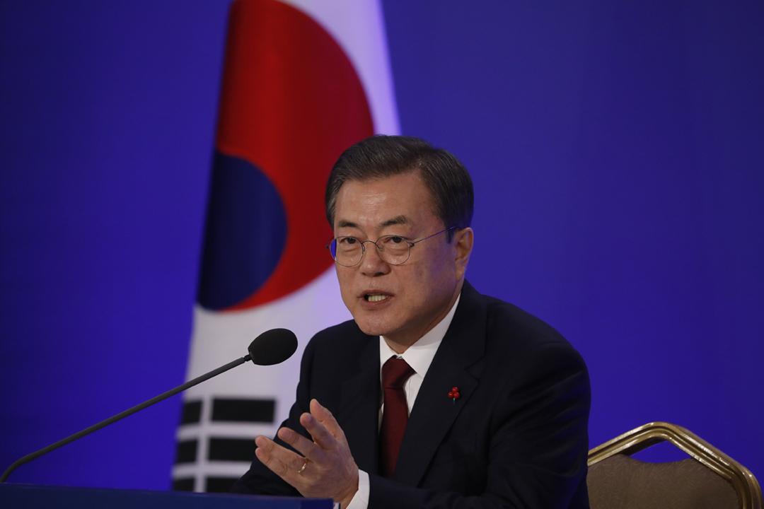 南韓總統文在寅對「N 號房案」受害者致以慰問,並下令警方徹查事件。圖為2020年1月14日,文在寅出席青瓦台新年記者會。 攝:Kim Hong-ji /POOL / AFP via Getty Images