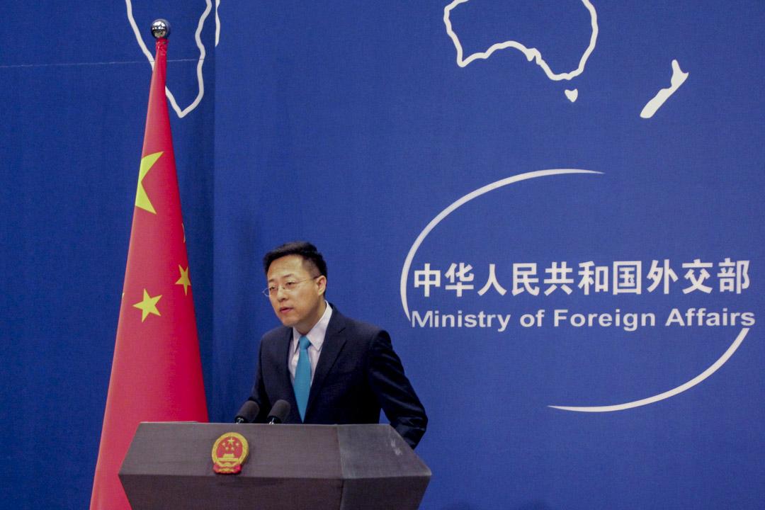 2020年2月24日,剛調任中國外交部發言人的趙立堅,首次主持例行記者會。 攝:Roman Balandin / TASS via Getty Images