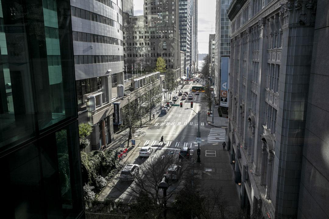 2020年3月12日,華盛頓州西雅圖,甚少市民在市區街上。