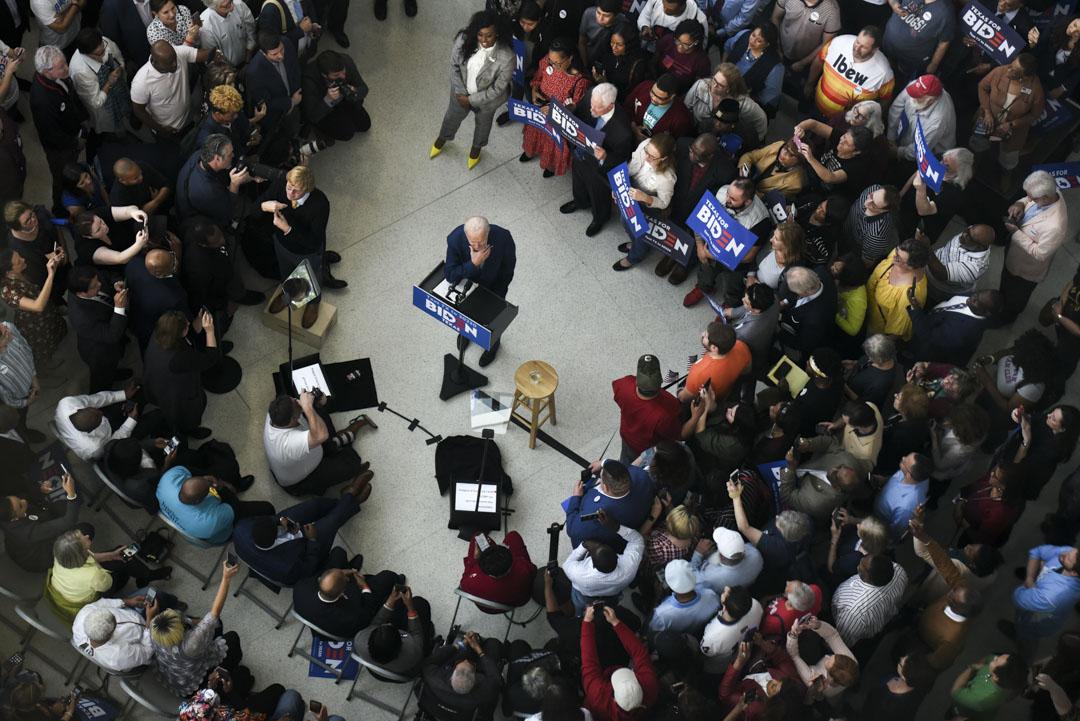 2020年3月2日,民主黨總統參選人拜登在德克薩斯州舉行的一次集會中。