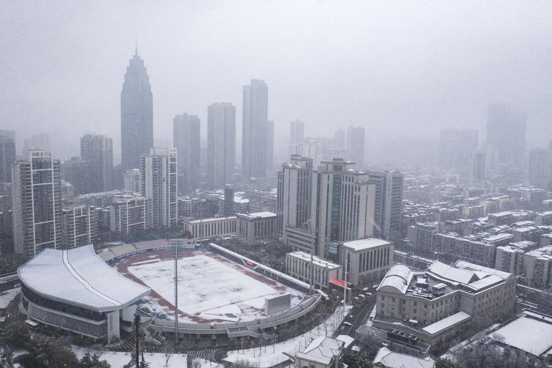 2020年2月15日,湖北省武漢市降雪。