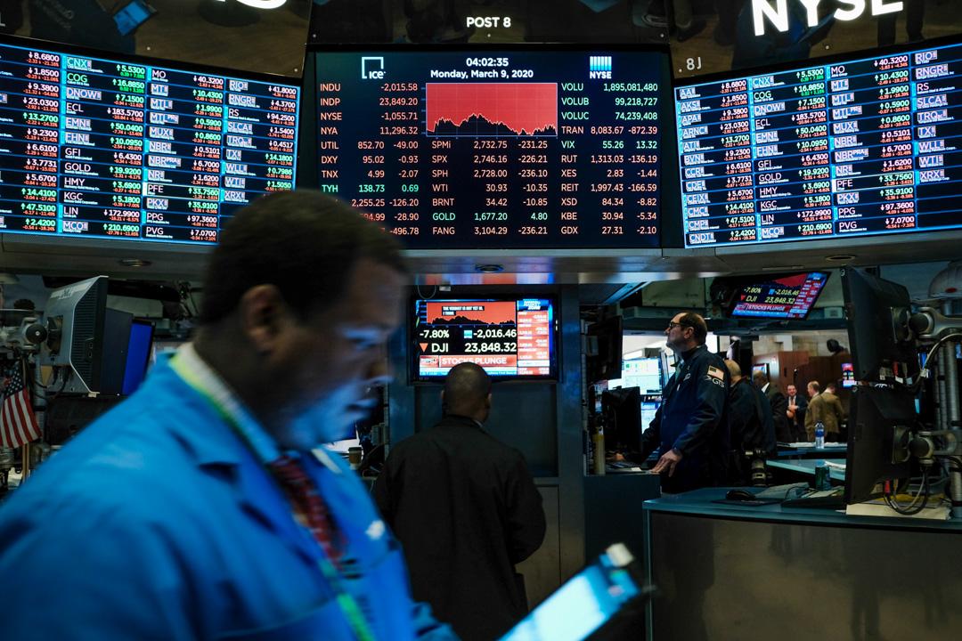 2020年3月9日,美國股市在單一交易日下跌超過2000點,為2008年來最大跌幅。