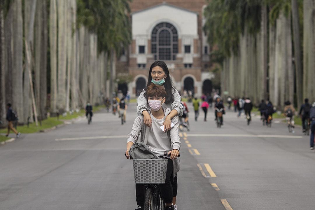 2020年3月6日,國立臺灣大學椰林大道上學生在騎著自行車。 攝:陳焯煇/端傳媒