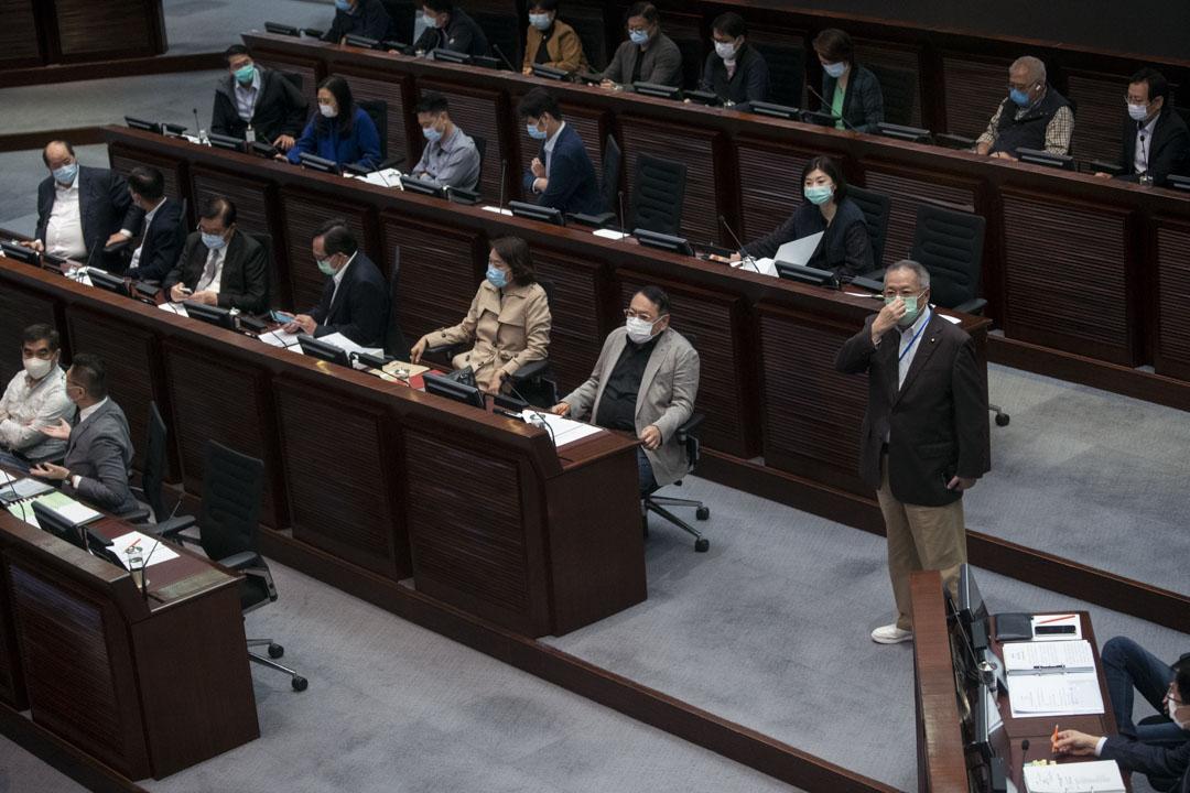 2020年4月24日,立法會內務委員會會議,飲食界議員張宇人與一眾建制派議員。
