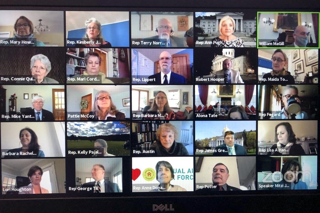 2020年4月23日,美國佛蒙特州眾議院議員在Zoom視頻會議上召開會議。 攝:Wilson Ring/Zoom via AP/達志影像