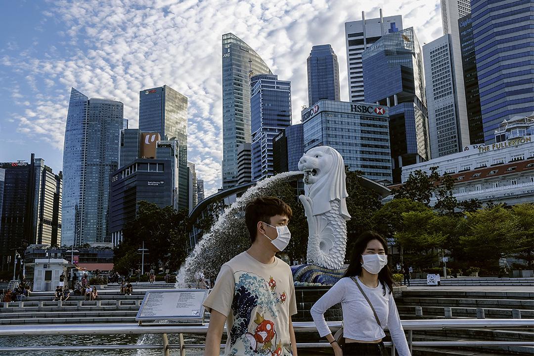 2020年3月14日,一對戴著口罩的夫婦走過新加坡的魚尾獅雕像。