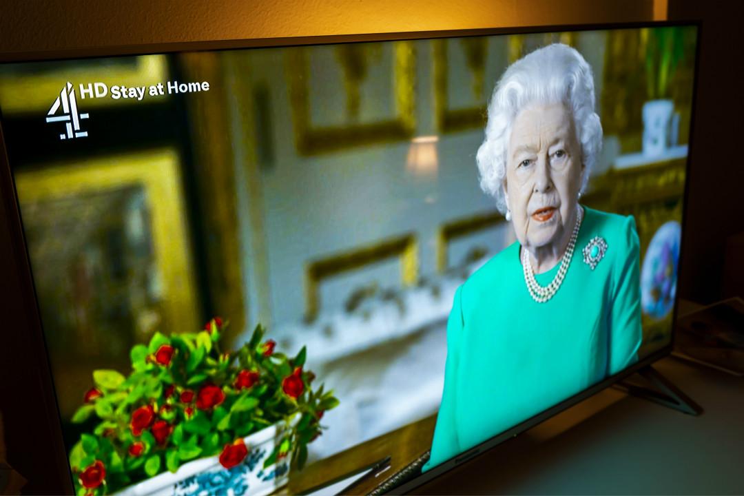 2020年4月5日,英國女王罕見發表電視講話,鼓舞國民抵抗疫情。 攝:Anthony Devlin/Getty Images