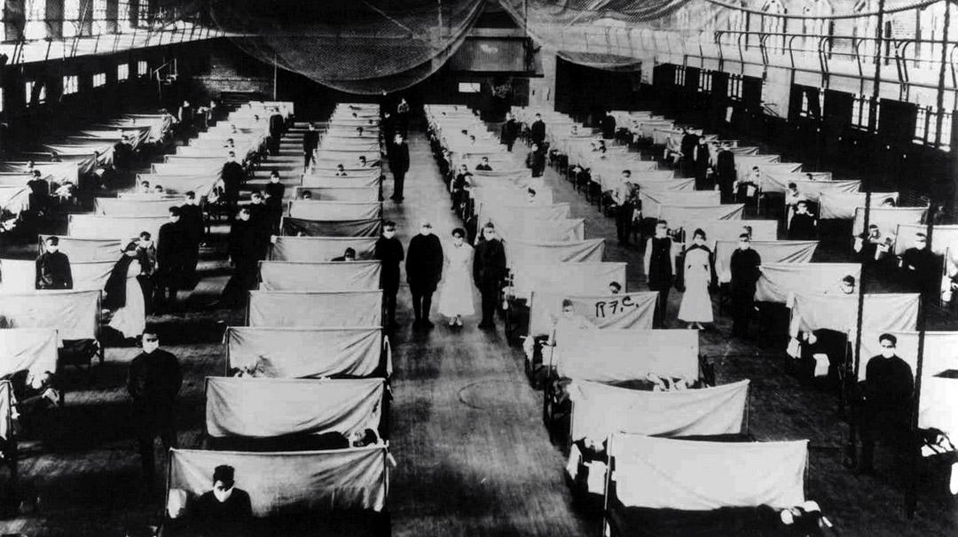 1918年,西班牙流感,一個為保護受感染者而被隔離的倉庫。